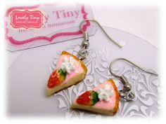 Kawaii Fashion Accessories Handmade Strawberry Cheese Cake Charms Earrings.