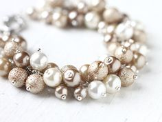Bridesmaid Jewelry Pearl Cluster Bracelet  Light by skyejuice