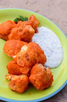 Crispy Gluten Free Cauliflower Buffalo Wings with Homemade Vegan Ranch