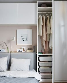 Learn how you can create a living room, bedroom, dining room and office all in one space. Our team at IKEA designed a living space in a small room using furniture such as a modular sofa bed, a tiny wardrobe, shelving units and a few high cabinets. Closet Bedroom, Home Bedroom, Bedroom Decor, Bedroom Ideas, Master Bedroom, Bedroom 2018, Single Bedroom, Budget Bedroom, Bedroom Ceiling