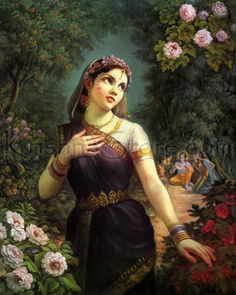 Radharani, Krishna's girlfriend, sometimes became angry with Krishna and sometimes in this mood she had a conversation with a bumblebee. Firstly Radharani was complaining about the activities of Krishna to the bumblebee but then she feared that the bumblebee may actually be a messenger from Krishna in disguise so she became afraid