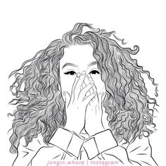 curly hair drawing images, image search, & inspiration to browse every day. Teenage Drawings, Tumblr Drawings, Tumblr Art, Tumblr Girls, Girl Drawing Sketches, Cute Girl Drawing, Outline Drawings, Cool Drawings, Girl Outlines