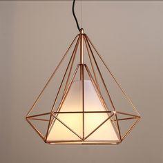 Copper Diamond Wire Cage Pendant Light #60W #black #cage
