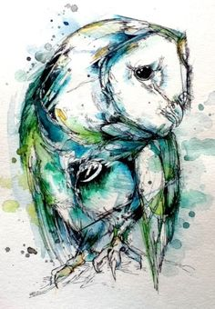 Yet another beautiful owl art piece that I would love to hang up in a room. (It would be nice and big) :)