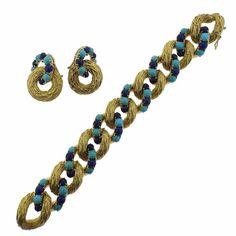1960s Pomellato Gold Turquoise Lapis Bracelet Earrings Suite