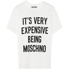 Moschino Oversized printed cotton-jersey T-shirt ($250) ❤ liked on Polyvore featuring tops, t-shirts, shirts, tees, white, pattern t shirts, moschino t shirt, print t shirts, moschino shirt and white t shirt