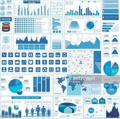 07-14 Illustration of a variety of business graphs in blue... #trend: 07-14 Illustration of a variety of business graphs in blue… #trend