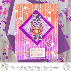 This project uses the Buggy for Caffeine set, Square Illusion Stencil and Candy Twist Stencil by The Rabbit Hole Designs. Check out my blog for more details on how I made this card!