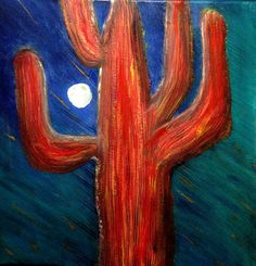 New  METEOR CACTUS An Original Fine Art Acrylic by AlanKrugFineArt, $300.00