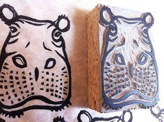 Hippopotamus Hippo Stamp Hand Carved Linoleum 2 by AyuTomikawaART, $15.00