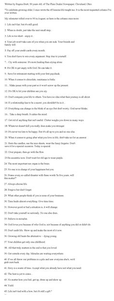 45 Life Lessons from 90 year old woman