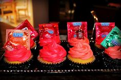 Bachelorette Cupcakes with a condom and lube