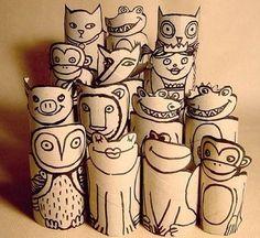 Con rollos de papel: animales y otros.