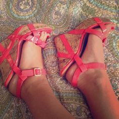 Reduced!! 💕 Adorable coral wedges Worn only once! Love the now on the top. These are a must have! Shoes