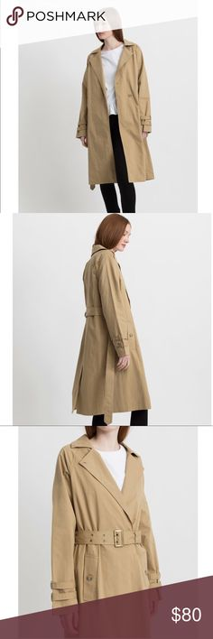 """Modern Citizen Skylar Trench Coat in Khaki No defects or signs of wear. Never worn (no tags came with it.) Definitely an oversized fit, but that's the style, so I'd say this fits true to size. 42"""" length and 24"""" sleeve length. Dry clean. I'm 5'5"""" and this hits me at about knee length. Feel free to make an offer! No trades. Modern Citizen Jackets & Coats Trench Coats"""