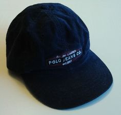 03535e8fecce7 RALPH LAUREN POLO JEANS CO. Baseball Hat Corduroy Blue Leather Strap  ADJUSTABLE  RalphLauren