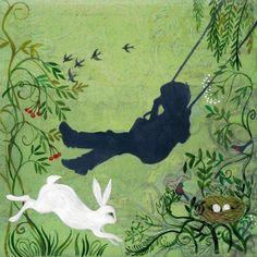 Playtime ART PRINT  Birthday Gift Swing Toddler Rabbit Bunny Nursery by AlidaBothmaArt on Etsy