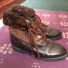 FALL SALE Chocolate Brown Merona Boots w/Suede Preloved but still has a lot of life left! I haven't used these in years and just now found out that they are too tight on me 😕 they need a new, loving home! Very warm in my opinion. ⛔ NO TRADES, NO PAYPAL, NO MERCARI, NO HOLDS ⛔️ smoke free, pet free home 😊 let me know if you have other questions 😊 PLEASE MAKE OFFERS THROUGH THE OFFER BUTTON.😊 Merona Shoes Lace Up Boots