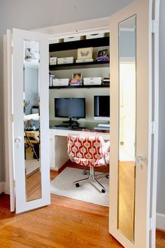 Even a disused cupboard or storage underneath the stairs can become a pretty functional tiny office.