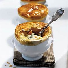 Pot pies are usually full meals in themselves. If you want to serve an accompaniment, think seasonal: a tangy citrus vinaigrette pairs well with a salad of bitter greens (such as curly or Belgian endive) and applewood smoked bacon, or drizzled over a composed salad of hearts of romaine or hearts of palm, grapefruit sections, and avocado slices.