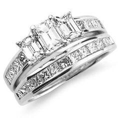 14K Three Stone Emerald Cut Wedding Ring Set at Jewelry Vortex