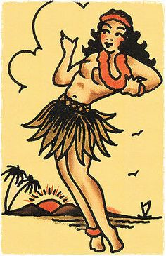 110-Hula-Pin-Up-Girl-vintage-Sailor-Jerry-Traditional-style-Flash-poster-print