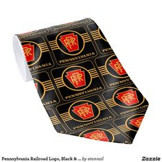 Pennsylvania Railroad Logo, Black & Gold Neck Ties; $32.95 - #stanrail - Tie What's a tailored suit without a custom tie? Create one-of-a-kind ties for yourself and your loved ones. Upload your own unique images and patterns, or browse thousands of stylish designs to wear in the office or on a night out in the town.  @stanrails_store