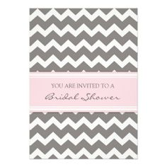 Pink Gray Chevron Bridal Shower Invitation Cards