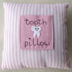 Pink childrens tooth fairy pillow