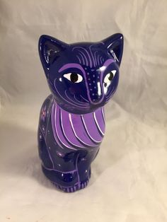 "Ceramic Clay Hand-painted Blue Cat Figurine Mexican Folk Art 7.5"" Tall Cozumel 
