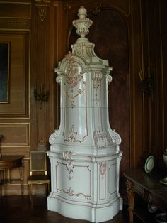 Ceramic stoves are traditional in Northern Europe: an 18th-century faience stove at Łańcut Castle, Poland