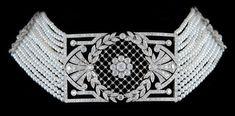Platinum Diamond Pearl Choker Necklace - Yafa Jewelry