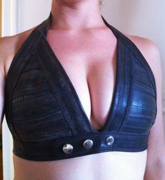 Post Apocalyptic Upcycled Bicycle Inner Tube Bra Halter Bikini Recycled Tire Bike Burning Man Festival Adjustable Punk Vegan Halter. $80.00, via Etsy.