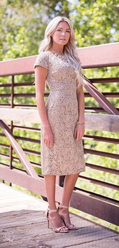 Modest lace overlay dress, modest bridesmaid dress More