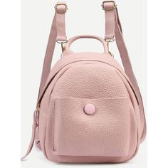 04822bae3e4f SheIn(sheinside) Pink Pebbled Faux Leather Backpack ( 20) ❤ liked on  Polyvore