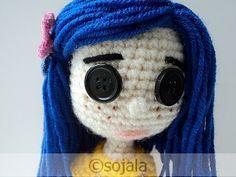 Amigurumi To Go!: Revised Crochet Coraline Doll Pattern Plus Video Tutorial Crochet Gratis, Crochet Patterns Amigurumi, Amigurumi Doll, Crochet Dolls, Knitting Patterns, Love Crochet, Crochet For Kids, Beautiful Crochet, Diy Crochet