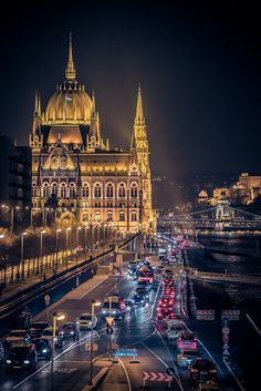 *🇭🇺 Budapest traffic on a damp night (Hungary) by Vagelis Pikoulas copy from rainy, check others 🏙 Most Beautiful Cities, Wonderful Places, Places Around The World, Around The Worlds, Places To Travel, Places To Visit, Danube River Cruise, Capital Of Hungary, Hungary Travel