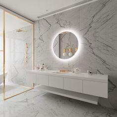 Backlit Bathroom Mirror, Bathroom Mirror Cabinet, Led Mirror, Mirror Cabinets, Mirror With Lights, Mirror Bedroom, Lighted Mirror, Bedroom Decor, Master Bathroom