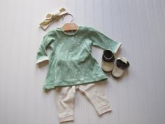 Infant Tunic Dress and Leggings - Organic Baby Outfit - Tunic Dress- Baby Shirt- Wink Mint Birch Fabrics - Made 4U Handmade Designs by Made4UHandmadeDesign on Etsy https://www.etsy.com/listing/467028935/infant-tunic-dress-and-leggings-organic