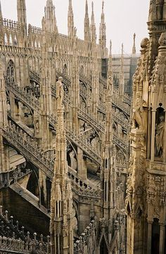 Milan Cathedral (Duomo di Milano) is the cathedral church of Milan, Italy. The Gothic cathedral took nearly six centuries to complete (groundbreaking was in 1386 and it was completed in 1965). It is the fifth largest cathedral in the world.