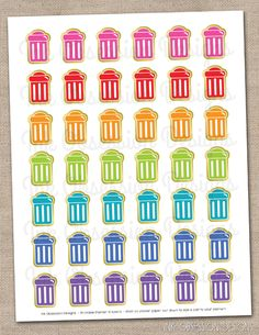 Garbage Cans Planner Stickers Instant Download DIY Printable PDF