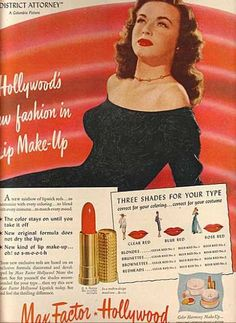 Max Factor - the original matte red lippy and predecessor to MAC Ruby Woo. I had a tube of this my grandmother gave me and cherished it even though it was 40 yrs old.