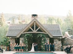 Four Seasons Resort Wedding in Vail Colorado Photographed by Connie Whitlock, Floral Tara Latour Wedding Dress, Emerald Green Bridesmaid Dresses