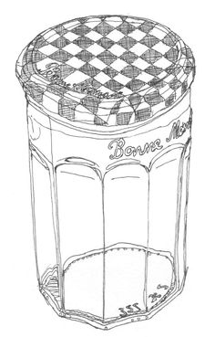 Black line drawing of an empty jam jar. Bonne Maman.