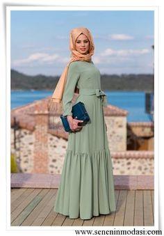 Kuaybe Gider çağla yeşili uzun elbise
