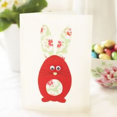 Children will love helping you to make this cute Easter bunny card with its pretty ears and moving goggly eyes. It's a good way of using up old offcuts of wrapping paper. Find more card making ideas here! http://www.prima.co.uk/tag/card-making/page/2
