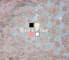 Floral Applique Lace  Sunflower Corded Lace  Chiffon by RobePlus