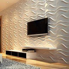 Revestimento 3D Board Loft Design, Wall Design, House Design, 3d Wallpaper Living Room, Living Room Tv, Tv Unit Design, 3d Wall Panels, Florida Home, Apartment Interior