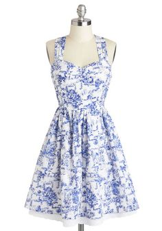 Give It Your Toile Dress by Louche - Mid-length, Cotton, White, Blue, Floral, Casual, Fit & Flare, Racerback, Sweetheart, Daytime Party, Spring