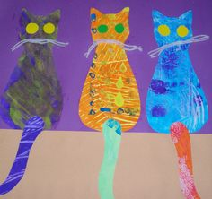 Our painted paper came into use again for this workshop. I created simple two-piece templates for the cats which students embellished wi. Process Art Preschool, Preschool Art Projects, Toddler Art Projects, Preschool Crafts, Preschool Themes, Special Needs Art, Square 1 Art, Sensory Art, Art Lessons Elementary